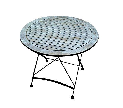Vintage tuintafel, terrastafel, bistrotafel, tafel, klaptafel, Ø 90 cm, shabby, retro, blauw, marine, azuur