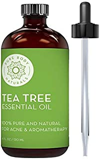 Pure Body Naturals Tea Tree Essential Oil, 4 Fluid Ounces, Natural Treatment for Acne, Hair and Diffuser, 100% Pure Melaleuca Oil for Face, Skin Tag Removal, and Foot Fungus