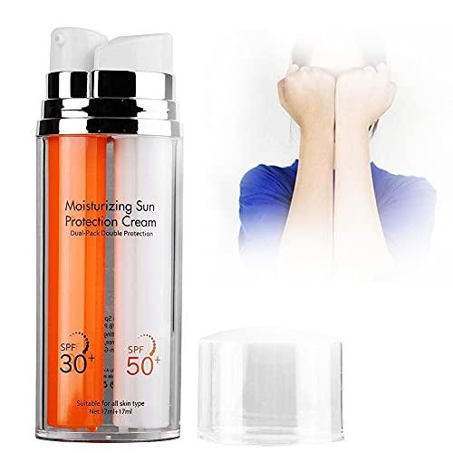 Crema de protección solar, SPF50 + SPF30 Doble sin aceite Cuidado facial UV Bloqueador solar Protector solar hidratante Crema de protección solar, Loción hidratante de alta protección solar