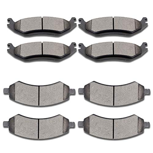 SCITOO Ceramic Pads Full Set Front Rear Brakes Pad fit for 2007-2009 Dodge Durango,2006-2010 Dodge Ram 1500,2011-2014 Ram 1500