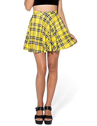 IDEALSANXUN Women's Plaid Short Skirt Mini Pleated Skirt (Small, Yellow)