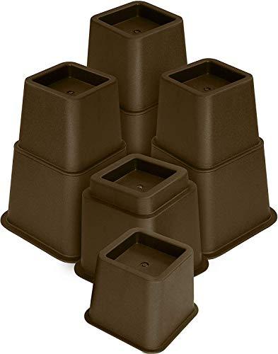Utopia Bedding - 8 Stück Hochwertige verstellbare Möbelerhöher (4 hoch und 4 kurz) - Starke platzsparende Steigleitung - Betthöher, Tischerhöher, Stuhlerhöher, Sofaerhöher (7 bis 20cm) (Braun)