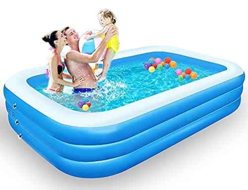 Inflatable Swimming Pool, LANIAKEA 118'x72'x20' Thicken Family Inflatable Lounge Pools, Rectangular...