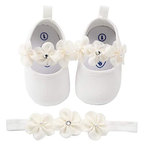 TMEOG Zapatos de Niña con Diadema Regalo Set Bautizo Flor Suave Suela Zapatillas Antideslizantes Zapatos de Princesa