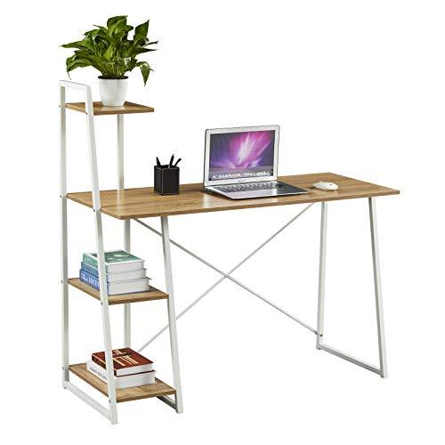 SVITA Combo1 Regal-Schreibtisch Eiche-Optik weiße Metall-Beine Computertisch Bürotisch Arbeitstisch PC Tisch