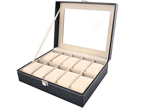 ISO TRADE Uhrenbox Uhrenkoffer mit abnehmbaren Organizer Leder Schmuck Uhrenschatulle für bis zu 10 Uhren Uhrenkasten Uhrenkissen aus Kunstleder 1369
