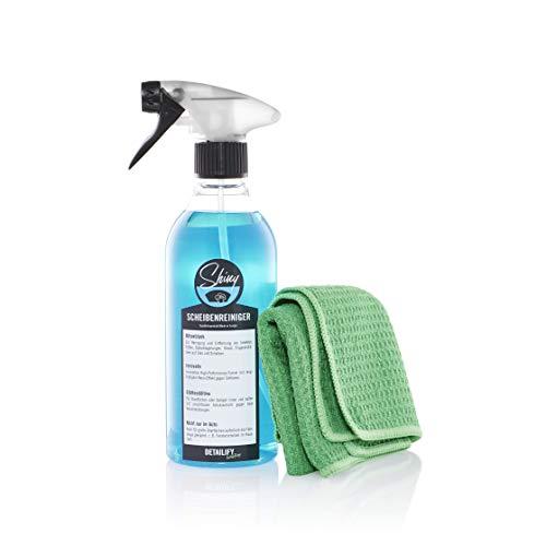 Detailify Glasreiniger Set Shiny mit Waffeltuch Auto Scheibenreiniger Innen/Außen Spray Autopflege KFZ 500ml