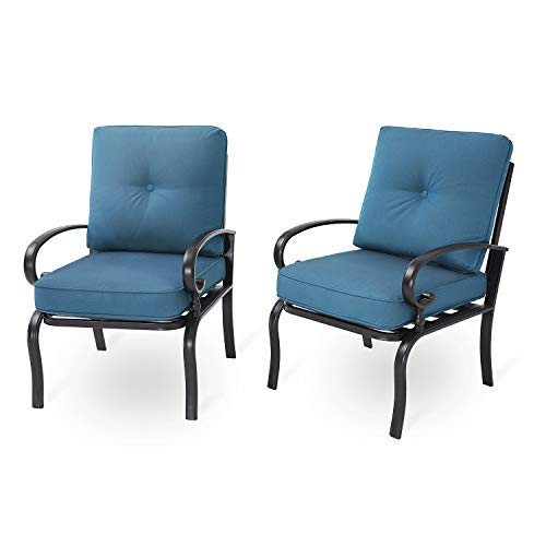 Incbruce Outdoor Indoor Patio Furniture Bistro Dining Chairs Set of 2 Steel Frame Club Chairs, All-Weather Garden Seating Chair (Peacock Blue)