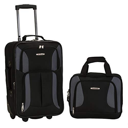 Rockland Fashion Softside Upright Luggage Set, Black/Gray, 2-Piece (14/19)