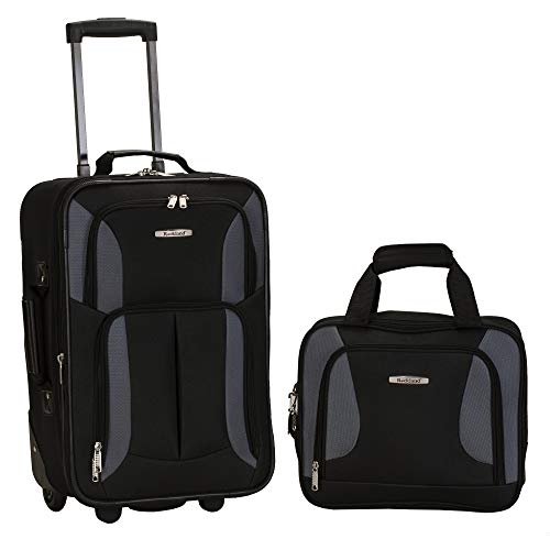 Rockland Fashion Softside Upright Luggage Set, Black/Gray, 2-Piece (14/20)