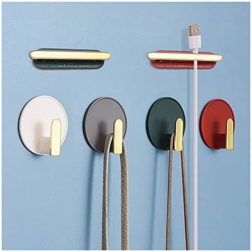 22LBS Decorative Wall Door Self Adhesive Hanger Hooks Heavy Duty for Hanging Coats Clothes Hat Keys Purse, Kitchen Towels Hook, Waterproof Shower Room Sticky Hooks for Bathroom Organizer, 6PCS