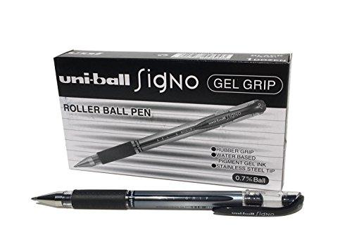 Penne UM-151S Signo Gel con impugnatura in gel, inchiostro gel Super Ink nero, a prova di manomissione, pennino in acciaio inossidabile da 0,7 mm, scatola da 12 pezzi