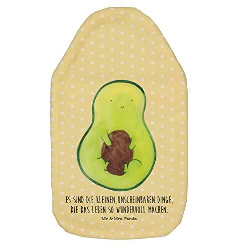 Mr. & Mrs. Panda Körnerkissen, Kinderwärmflasche, Wärmflasche Avocado mit Kern mit Spruch - Farbe Gelb Pastell