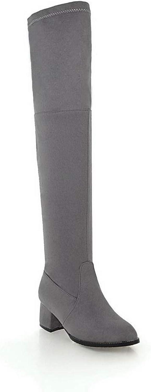 AdeeSu Womens Square Heels Chunky Heels Lace Ornament Urethane Boots SXC03375