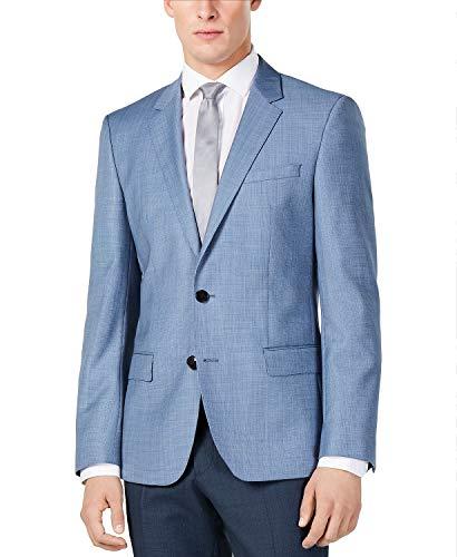 Hugo Boss Men's Blazers Professional Slim Fit Comfort Jacket 100% Wool Two Button Side Vents Sport Coats by Hugo (40 Short USA, Light Blue Mini Check)