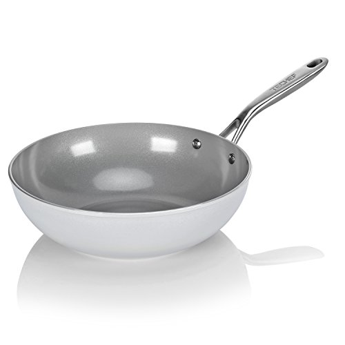 TECHEF CTW30 CeraTerra 12' Nonstick Wok/Stir-Fry Pan (PTFE and PFOA Free Ceramic Exterior & Interior), Oven & Dishwasher Safe, Made in Korea-in, Silver/Grey