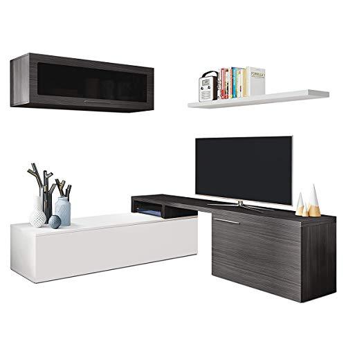 Parete attrezzata soggiorno moderna MULTIPOSIZIONE mobile TV pensile mensola sala pranzo salotto GRIGIO+BIANCO 200 X 41 X 43 cm 016667G