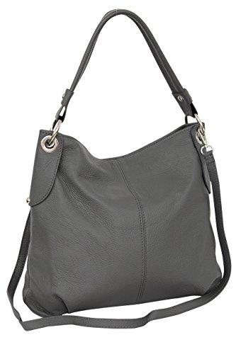 AMBRA Moda Damen echt Ledertasche Handtasche Schultertasche Beutel Shopper Umhängtasche GL012 (Dunkelgrau)