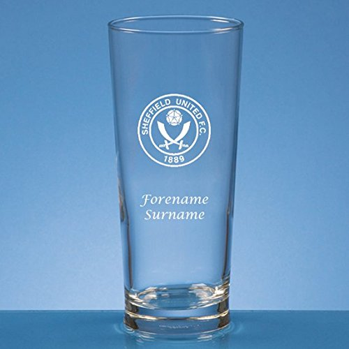 Made Just For You Official Licensed Sheffield United FC Personalised Crest Straight Sided Beer Glass