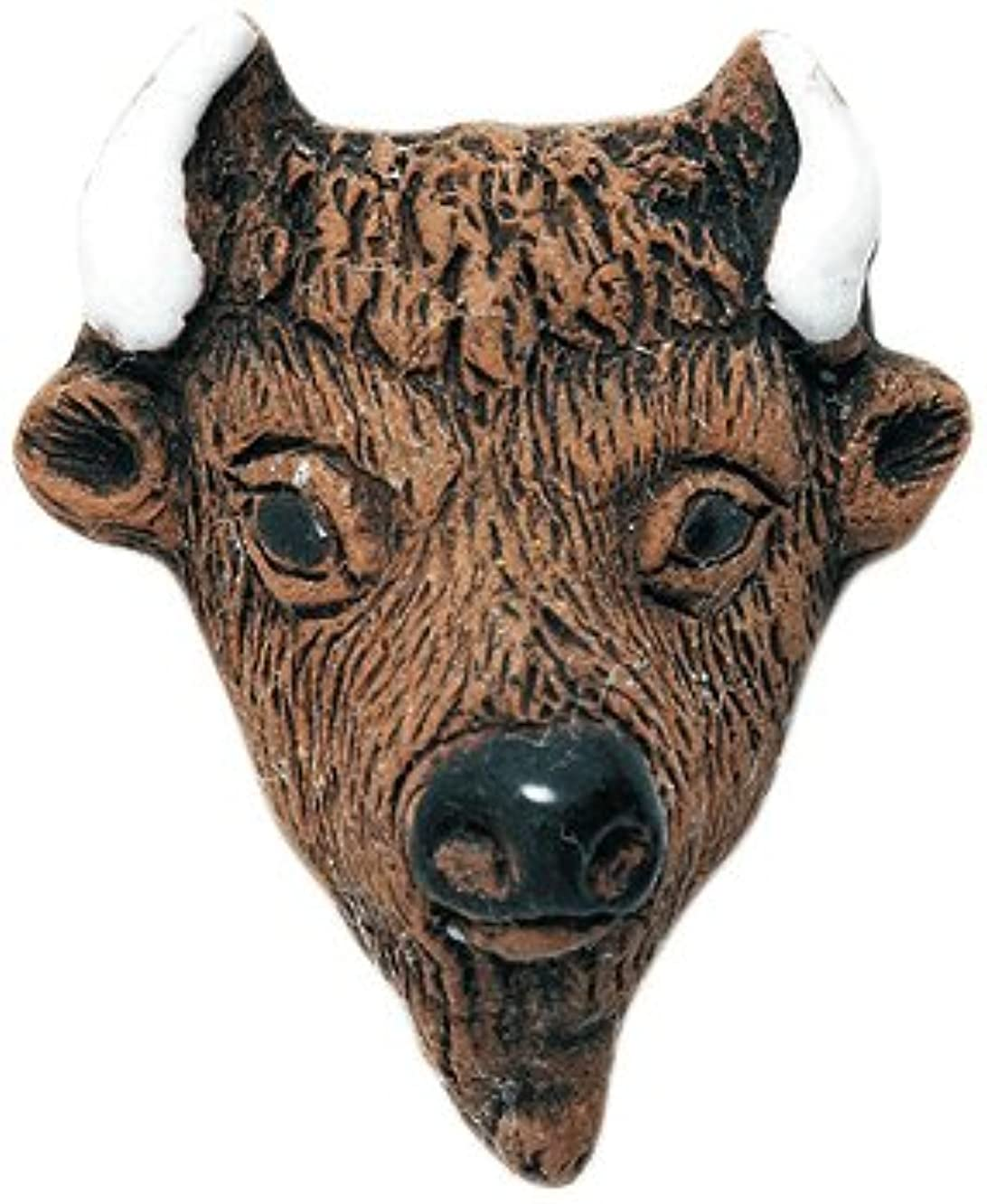 Shipwreck Beads 25 by 30mm Peruvian Hand Crafted Ceramic Buffalo Face Beads, Brown, 4 per Pack