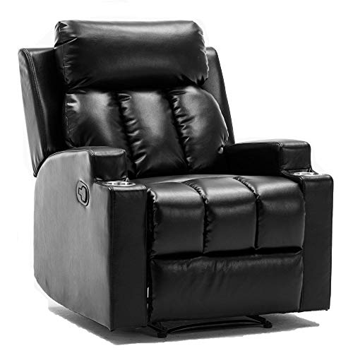 Merax Recliner Chair Lazy Sofa, Manual Ergonomic Design with Overstuffed Armrest, Footrest and 2 Cup Holders for Living Room, Black