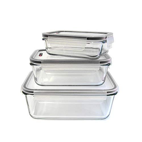 Cuisy – Plat en Verre Ultra-Résistant à la chaleur Spécial Four avec Couvercle Hermétique- - Idéal pour cuire, réchauffer, congeler et conserver les aliments (Set de 6 pièces)