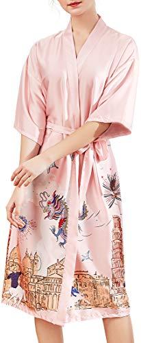 Chaos World Albornoz Mujer Largo Satén Camisón Kimono