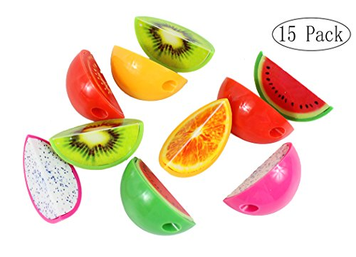 Xiaoyu 15PCS Creative Stationery Cartoon Fruit Shape Plastic Pencil Sharpener for School, Office, Christmas Gift (Colors May Vary)