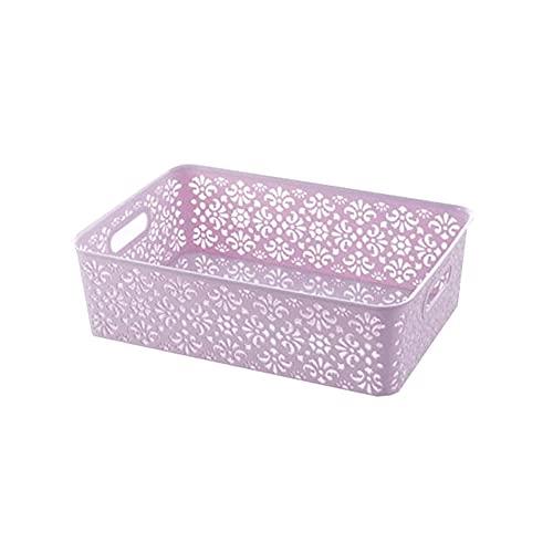 Dabeigouzzhiwl almacenaje, 2pcs apilable Almacenamiento Bins Caja, para Juguetes, diestros, artículos de tocador, Ropa, bocadillos y más (Azul, Rosa, púrpura) Tamaño: S 9 x6.5x3.9in, M13.3x9x3.9in
