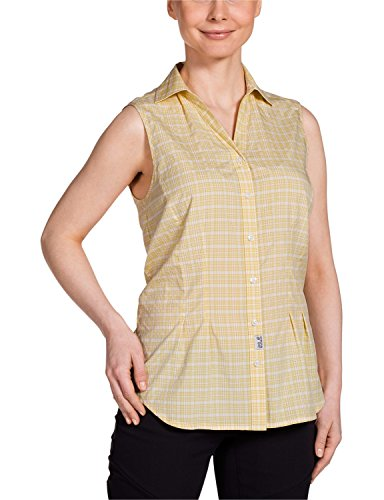 Jack Wolfskin Damen Bluse Tongari Shirt, Lemonade Checks, L, 1401701-7555004