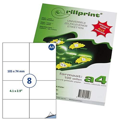 Rillstab Rillprint - Pack de 800 etiquetas autoadhesivas, 105 x 74 mm, RI89120, A4, color blanco