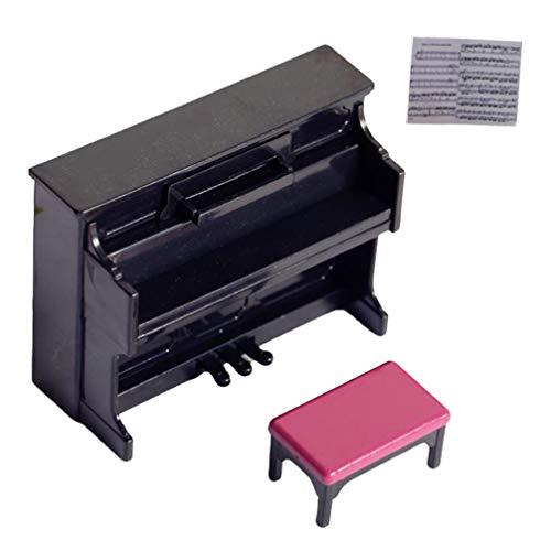 TOYANDONA Mini piano modelo en miniatura, juguete para casa de muñecas, instrumento musical con taburete para casa de muñecas, decoración de escena (negro)