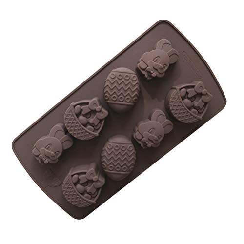 Amosfun Moule de Gâteau Chocolat en Silicone en Forme d'Oeufs Lapin Panier pour Enfant DIY de Pâque (Marron)