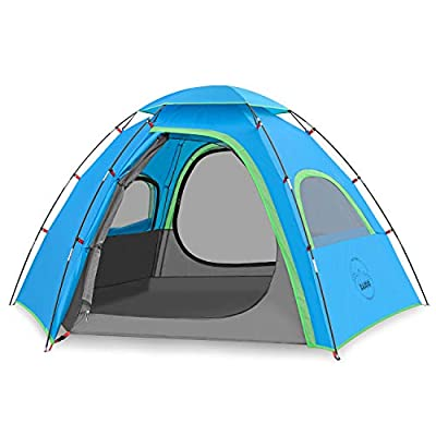 KAZOO Outdoor Family Tent Durable Lightweight, Waterproof Camping Tents Easy Setup, Beach Screen Tent Sun Shade 3 Person (Blue)