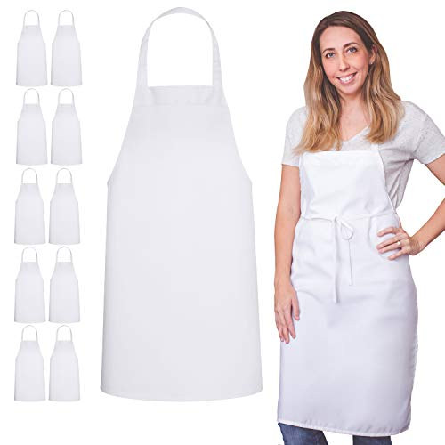 12 Pack Bib Apron - Unisex Apron Bulk Machine Washable for Kitchen Crafting BBQ Drawing Outdoors By Green Lifestyle (Pack of 12, White)…