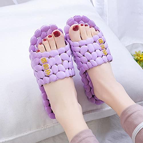 WENHUA Zapatillas de Masaje de Dibujos Animados para el hogar de Las Mujeres, Purple_40-41
