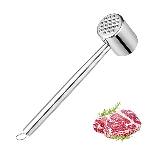 COTTONIX Mazo para Carne, Ablandador de carne de doble cara, acero inoxidable Ablandador de carne para bistec de res, cerdo, pollo, pescado, ablandador, apto para lavavajillas