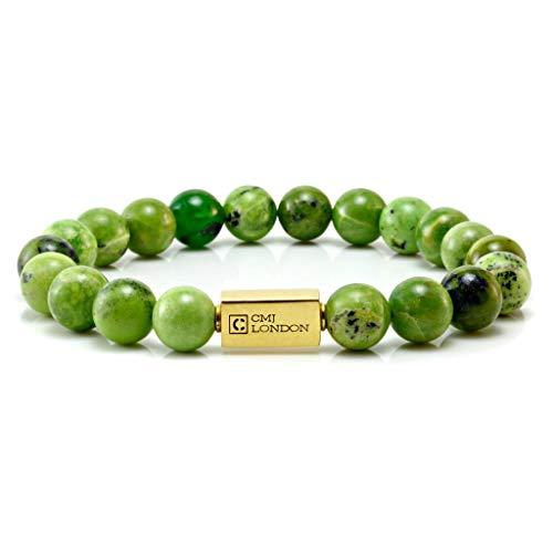 CMJ London Hombre Unisex Plata fina 925 Plata chapada en oro de 24 quilates. redonda Green Crisotina