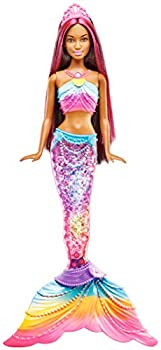 Barbie Dreamtopia Mermaid Rainbow Lights Doll, Dark Brown & Pink Hair