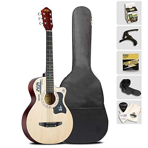 Boll-ATur Perfektes Geschenk 38-Zoll-Akustikgitarre Multicolor Optional Anfängergitarre 6 Saiten Gitarrenset Multifunktions-E-Tuner Plektren Gitarrenrucksack (Color : Wood)
