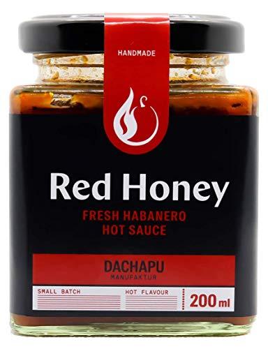 Red Honey Chili Sauce [200ml] - DIE LECKERSTE SCHÄRFE FÜR JEDES GERICHT! Die handgemachte, frische und fruchtige Hot Sauce aus Habaneros und Honig. Das Original aus der DACHAPU Manufaktur