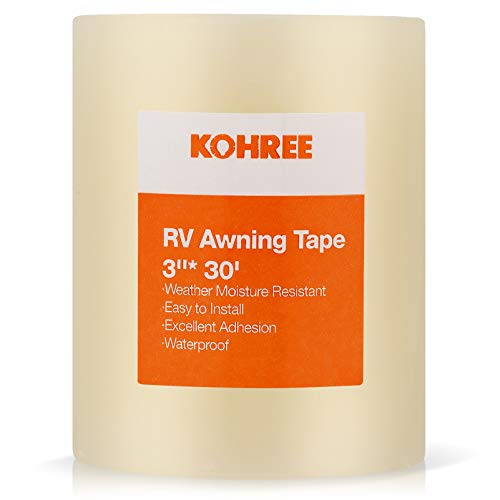 Kohree RV Awning Repair Tape Clear, 3 Inches x 30 Foot, Waterproof Rips Repair Tape Tent Patch Tape for Awning, Camper, RV punctures, Boat Sails, Canopy, Greenhouse