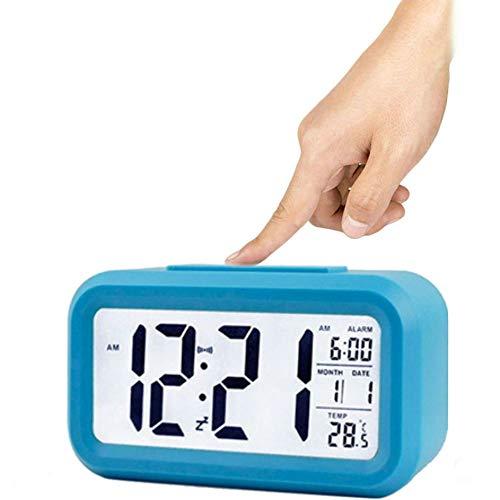 Winnes Wecker Digital, Großer HD Bildschirm Intelligente Nachtlicht Wecker Alarm Clock Für Kinder Jugendliche Mode Junge LED Hintergrundbeleuchtung Display LCD Digital Elektronische Wecker(Blau)