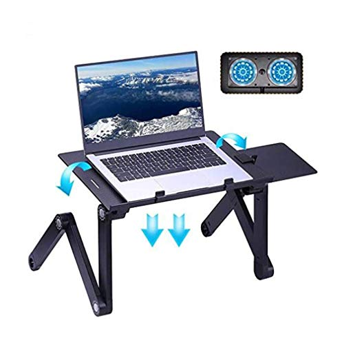 Laptop Tafel, Verstelbare Laptop Bed Table, draagbare laptop Workstation Notebook Stand Reading Houder met 2 Fan & Mouse Pad, Ergonomisch Lap Desk TV Bed Tray Permanent Bureau Notebook stand