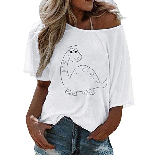 VEMOW Camisetas Mujer Verano Blusa Elegante Chicas Talla Extra Labios Impresión Manga Corta Camiseta Blusa Tops Hombros Mujer Camisetas Mujer Tallas Grandes(Blanco,L)