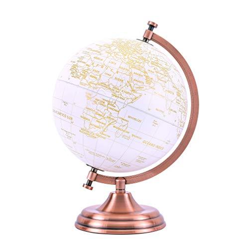 EXERZ 20cm Globo Dorado Color Metálico - Decoración Educativa, Geográfica, De Escritorio Moderna - Arco Y Base De Metal, Recubiertos En Color Dorado - Español