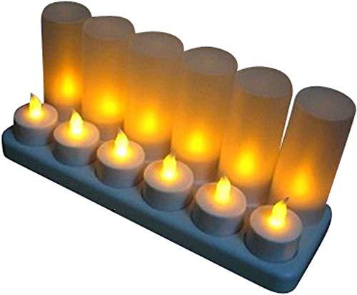 LED Teelichter 12er Set gelb mit Windglas und Ladestation