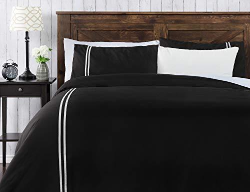 Chanasya Ultra Soft Ribbon Border 3-Piece Bedding Duvet Cover Set Queen - Luxurious Brushed Microfiber Comforter Cover - Zipper Closure Reversible (1 Duvet Cover & 2 Pillowcases) White