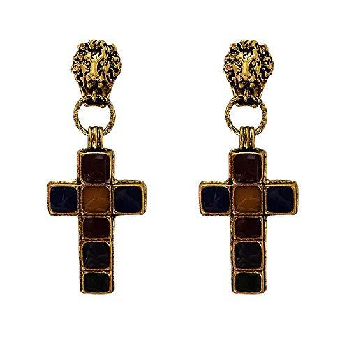 BEAUTYLEE Pendientes, Cabeza de león esmaltada, Colgante Cruzado, Pendientes barrocos para Mujer.