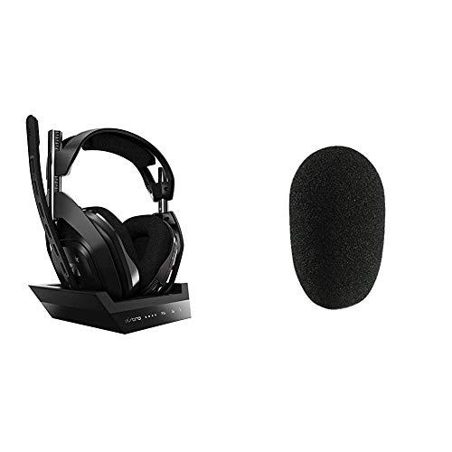 ASTRO Gaming A50, Wireless Gaming-Headset mit Ladestation, Gen 4, Dolby Audio, Game/Voice Balance Control, 2,4 GHz Kabellos, 9m - Schwarz/Silber & MONACOR WS-50 Mikrofon-Windschutz, schwarz